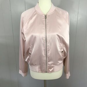 Mossimo pale pink satin bomber jacket